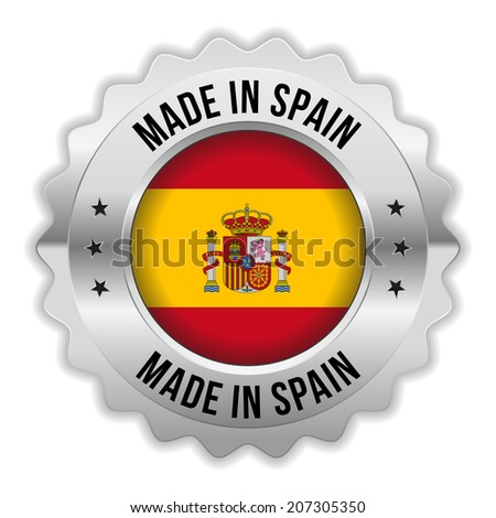 Round made in spain badge with chrome border on white background - stock vector