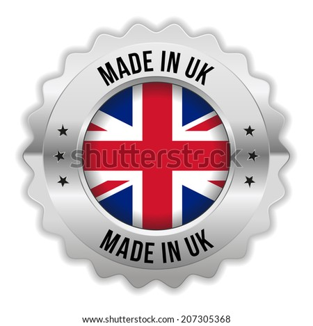Round made in uk badge with chrome border on white background - stock vector