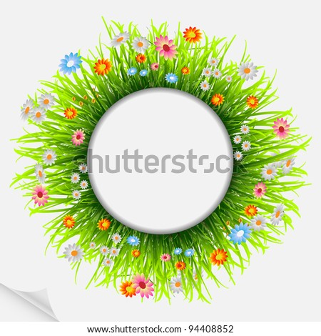 Round natural frame with grass and flowers.Vector eps10 - stock vector