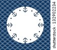 Round navy blue and white frame with anchors and dots, on a scalloped background, vector - stock vector