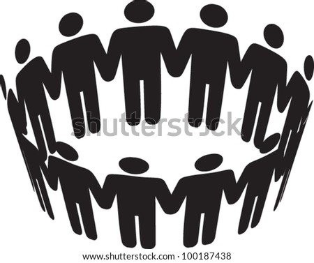 round of peoples. Team and union metaphor - stock vector