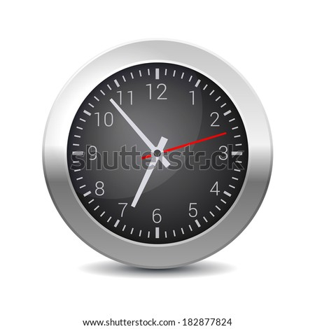 Round Office Wall Clock with Black Dial. Vector - stock vector