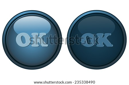 Round Ok Button in two states, Default and Pressed, Vector Illustration isolated on White Background, each available on separated Layers. - stock vector