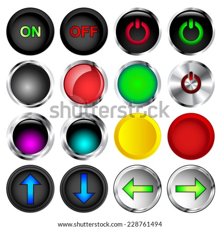 Round on and off push button vectors - stock vector