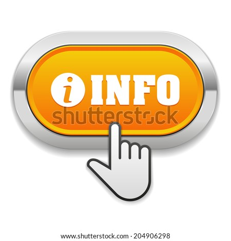 Round Orange Info Button With Cursor On White Background - stock vector
