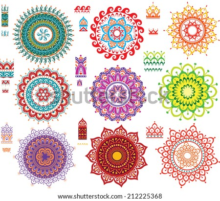 Round Ornament Pattern with Pattern brash - stock vector