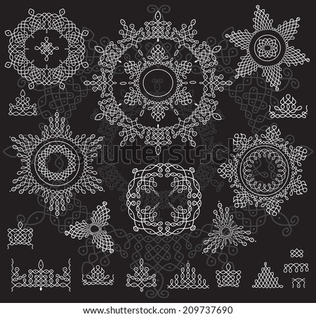 Round Ornament Pattern with pattern brush. Rangoli - stock vector