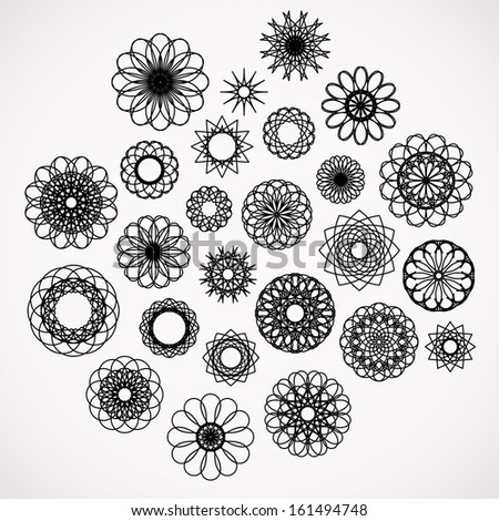 Round ornament set. Vector collection - stock vector