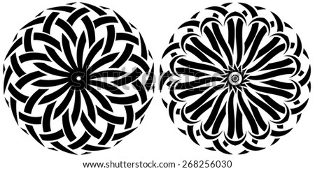 Round ornaments on a white background. Vector set of tribal - stock vector