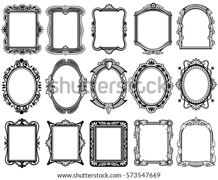 Round Oval Rectangular Vintage Victorian Baroque Vector de ...