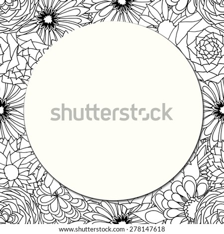 Round paper card on the background of beautiful flowers. Vector illustration - stock vector