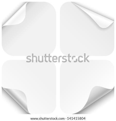 Round Paper Corner Folds - Set of four paper folds with rounded corners, isolated on a white background.  EPS10 file with transparency. - stock vector