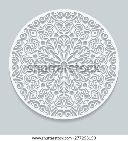Round paper lace doily, greeting card. Decorative, geometric vector snowflake, mandala. Circle crochet ornament, eps 10. - stock vector