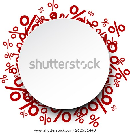 Round paper note background over percent signs. Promotion coupon. Vector illustration.  - stock vector