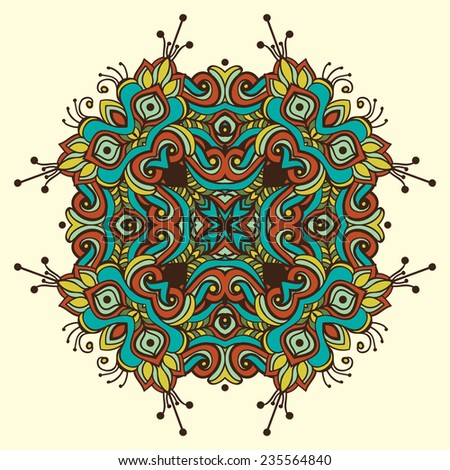 Round pattern in ethnic style - stock vector