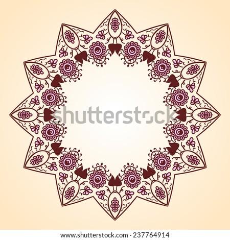Round pattern. Persian, Arabic, Islamic, Turkish symbols and design elements. - stock vector