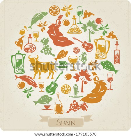 Round Pattern Elements Symbols Spain Stock Vector 179105570