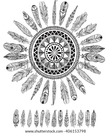 Round pattern with feathers in native style - stock vector