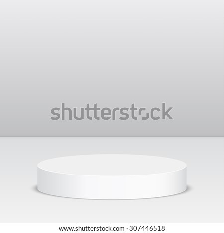 Round pedestal for display. Platform for design. Realistic 3D empty podium - stock vector