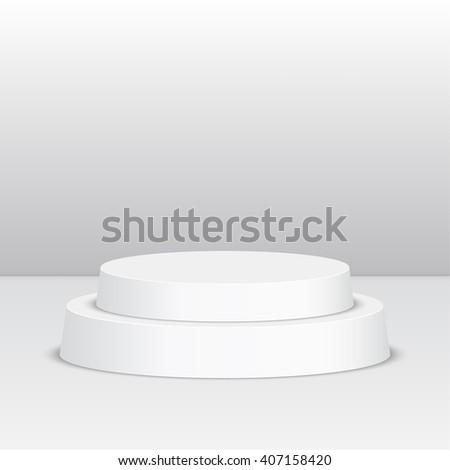 Round pedestal for display. Platform for design. Realistic 3D empty podium - stock vector