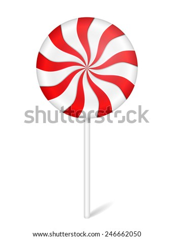 Round peppermint candy with stick on white background, vector eps10 illustration - stock vector