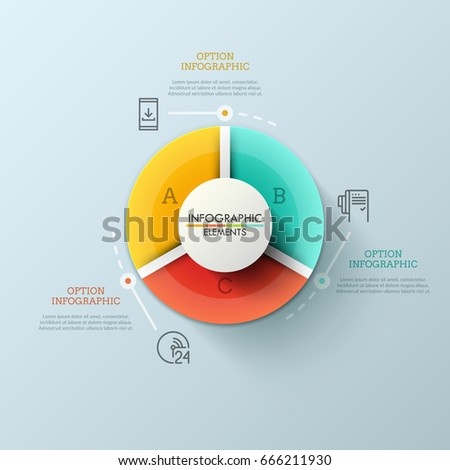 Round pie chart divided into 3 stock vector 2018 666211930 round pie chart divided into 3 multicolored sectors thin line pictograms and text boxes ccuart Choice Image
