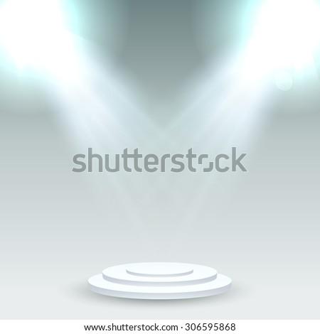 Round podium illuminated by spotlights - stock vector