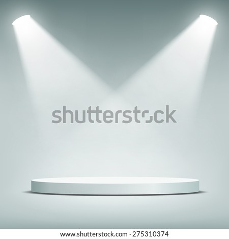 Round podium illuminated by spotlights. Vector Image. - stock vector