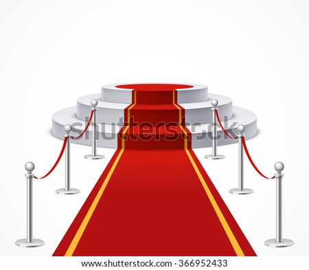 Round podium with red carpet and barrier rope