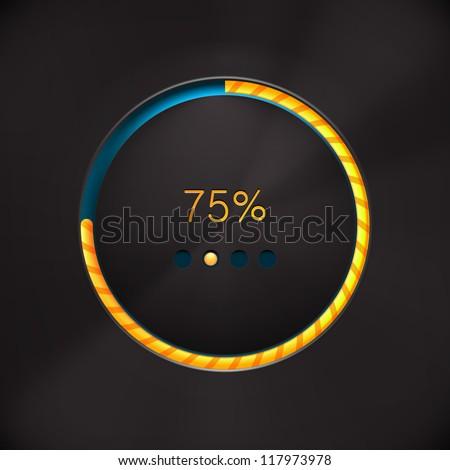 Round preloading  progress bar on black background with yellow-orange buffering indicator. Web preloader. Download bar. Vector illustration - stock vector