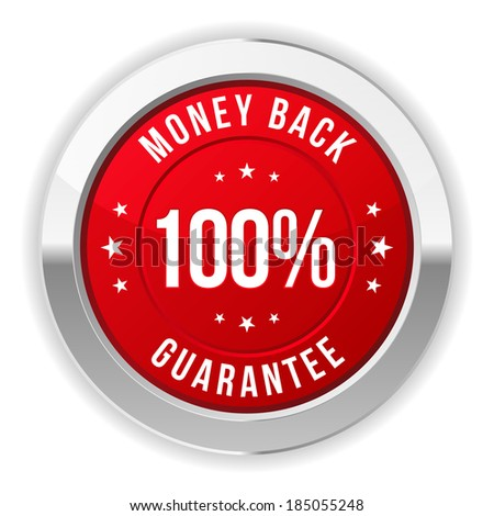 Round purple hundred percent money back button with metallic border - stock vector