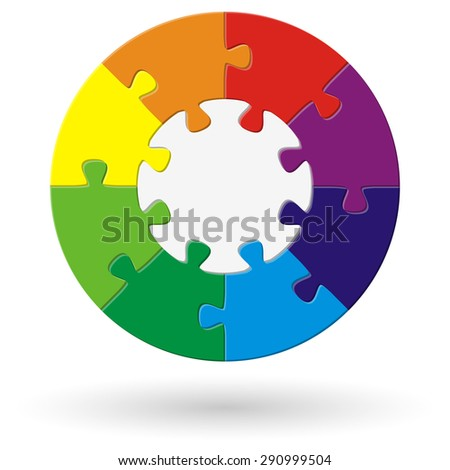 round puzzle with base and eight options in different colors