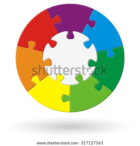 round puzzle with base and seven options in different colors