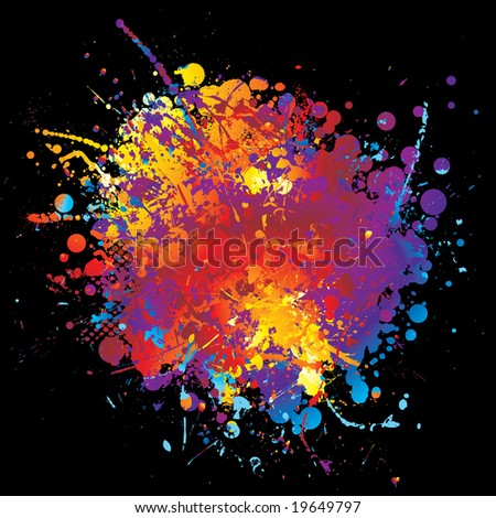 Round rainbow ink splat with halftone dot and black background