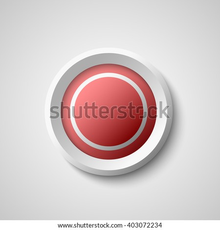 Round red and white web button. 3D. Vector illustration.