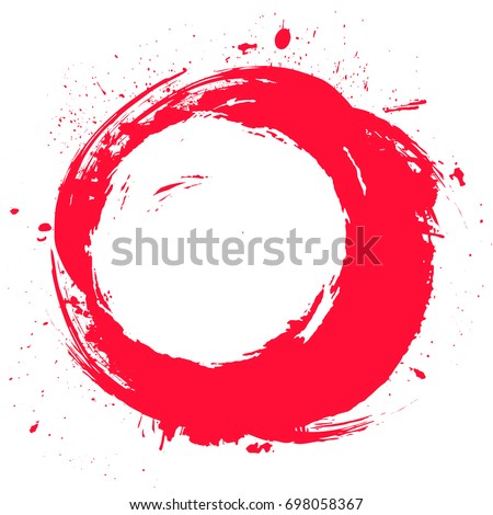 Round red painted label isolated on white background. Grunge frame, banner, badge, poster design element. Distress texture effect. Brush strokes with splash, splatters.