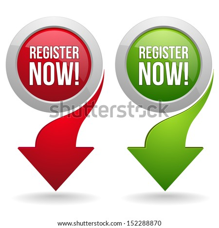 Round register now button with arrow - stock vector
