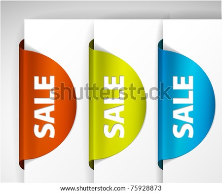 Round Sale Label / Sticker on the edge of the (web) page - stock vector