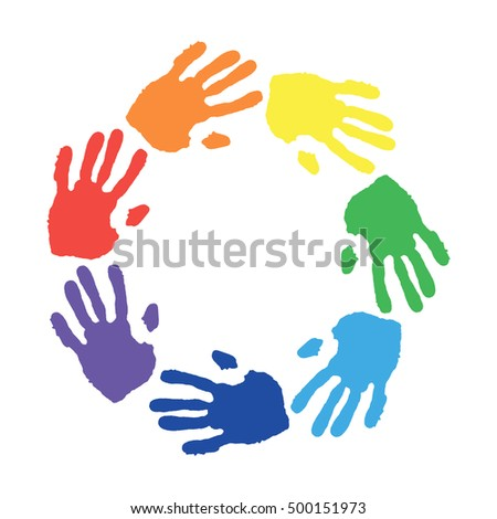 Round Shape Formed Colorful Hand Prints Stock Vector HD Royalty