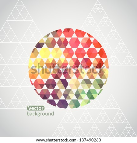 Round shape made of triangle. Triangle pattern background, triangle background, vector illustration with plenty space for your text