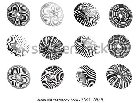 Round Shapes . Ring Logo Design Elements . Circles of Stripes . Round Line Icons . 3d Elements for your Design . Vector . - stock vector