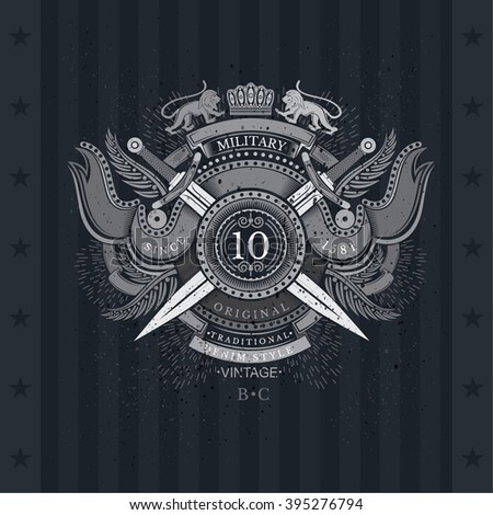 Round Shield And Cross Swords With Flags and Lion. Military Heraldic Label On Blackboard - stock vector