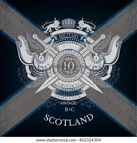 Round Shield And Cross Swords With Ribbons and Lion. Military Heraldic Label on Scotland Flag Background. Brand or T-shirt style - stock vector