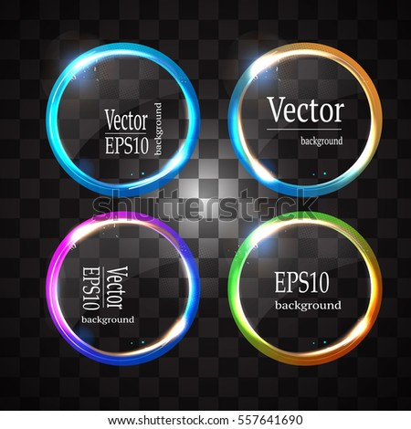 Round shiny frame background with light bursts. Technology background. Vector eps10.