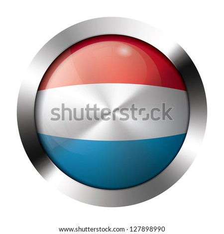 Round shiny metal button with flag of luxembourg europe. - stock vector