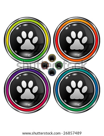 Round shiny vector button set with pet paw print icon on black background - stock vector