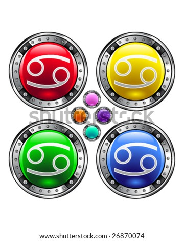 Round shiny vector button with cancer zodiac symbol icon on colorful background