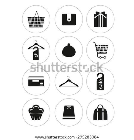 Round shopping icon set. Vector. - stock vector