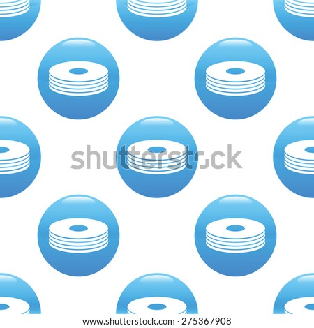 Round sign with pile of discs repeated on white background - stock vector