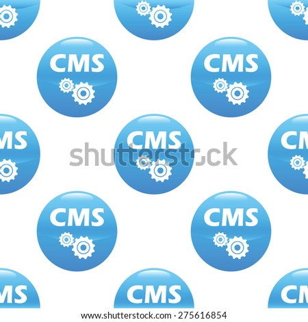 Round sign with text CMS and two gears, repeated on white background - stock vector